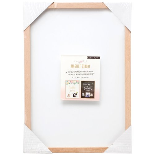 """Maggie Holmes Magnet Studio Magnet Board 10""""X14""""-Double-Sided Black & White W/Wood Frame"""