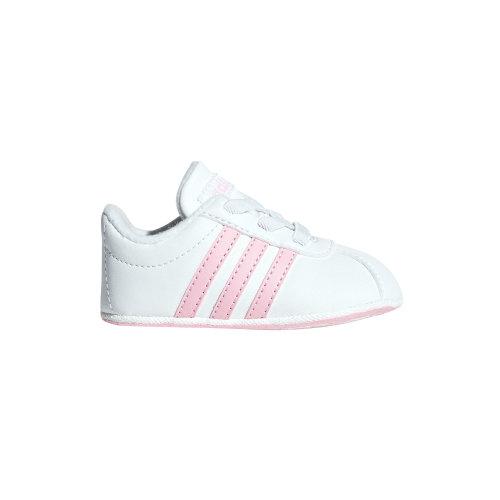 adidas VL Court 2.0 Infant Baby Toddler Kids Girls Crib Shoe White/Pink