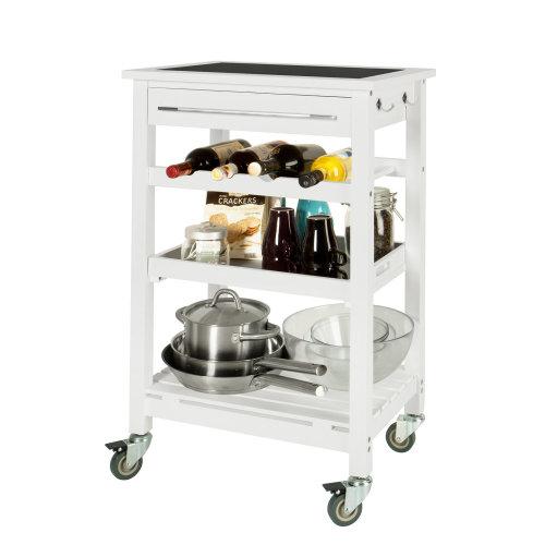 SoBuy® FKW16-G-W, Kitchen Storage Serving Trolley with Black Tempered Glass Worktop