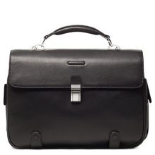 Piquadro Leather Briefcase with 2 Gussets Exterior Pen Holder, Black, One Size