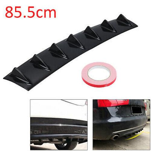 85cm Universal Shark Fin 7 Wing Lip Rear Bumper Diffuser Spoiler Gloss Black ABS