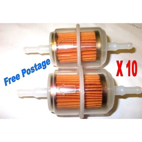 10 X LARGE IN-LINE PETROL UNIVERSAL FUEL FILTERS FIT 6-8mm MOTORBIKE AUTO