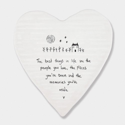 East of India Porcelein Heart Coaster 'The best things in life..' Gift