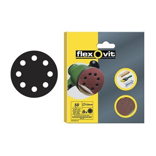 Flexovit 63642526385 Hook & Loop Sanding Discs 115mm Medium 80g Pack of 6