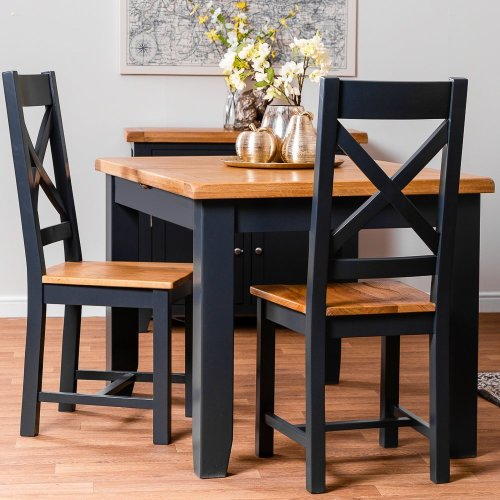 Hampshire Blue Painted Oak Small Extending Dining Table (Seats 6)