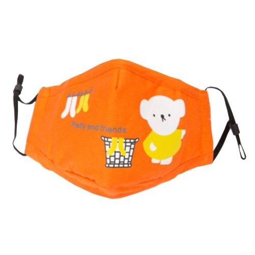 Cotton PM2.5 Anti-smog + N95 Activated Carbon Mask Children Masks Bear Orange