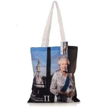 John Swannell Queen Elizabeth II Official Portrait Cotton Tote Shopping Bag Souvenir Gift