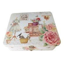 Small Fresh Safe Lock Box Storage/Jewelry Box Desktop Iron Box-Rose