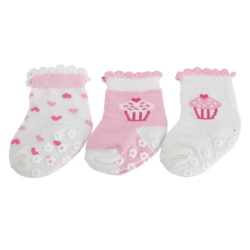 Nursery Time Baby Girls Cake And Heart Design Socks (Pack Of 3)