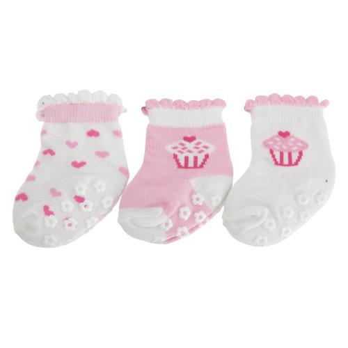 Nursery Time Baby Girls Cake And Heart Design Socks (Pack Of 3)