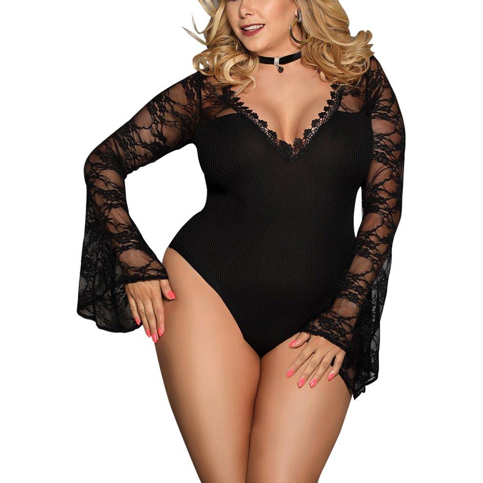568e22dad60 ... Ulily Women Lace Flare Sleeves Bodysuit Clubwear - 2.