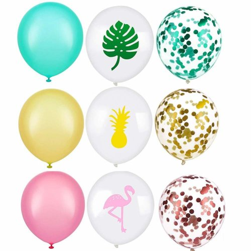 GOOBAT 45 Pieces Creative Tropical Hawaiian Themes Balloons For Luna Birthday Summer Party Decoration Includes Printed With Flamingo On OnBuy